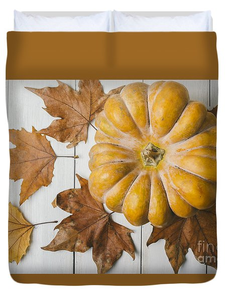 Pumkin And Maple Leaves Duvet Cover
