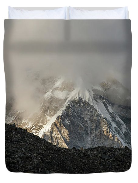 Duvet Cover featuring the photograph Pumori Dusk Light by Mike Reid