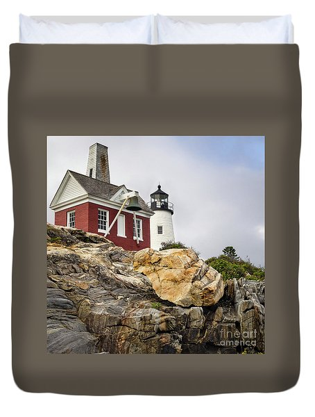 Pumphouse And Tower, Pemaquid Light, Bristol, Maine  -18958 Duvet Cover
