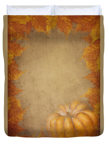 Pumpkin And Maple Leaves Duvet Cover