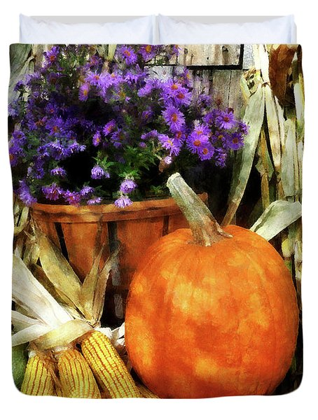 Pumpkin Corn And Asters Duvet Cover by Susan Savad