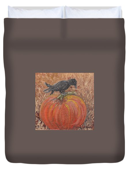 Pumpkin Crow Duvet Cover