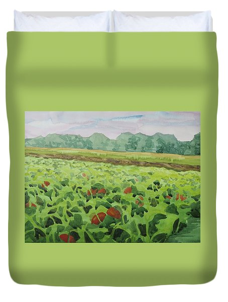 Pumpkin Field Duvet Cover by Bethany Lee
