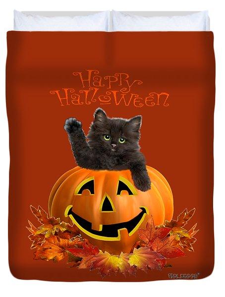 Pumpkin Kitty Duvet Cover by Glenn Holbrook