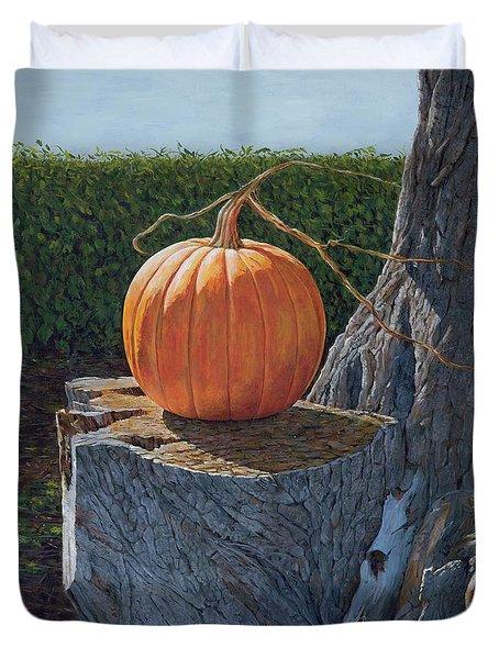 Pumpkin On A Dead Willow Duvet Cover