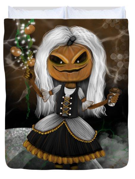 Pumpkin Spice Latte Monster Fantasy Art Duvet Cover