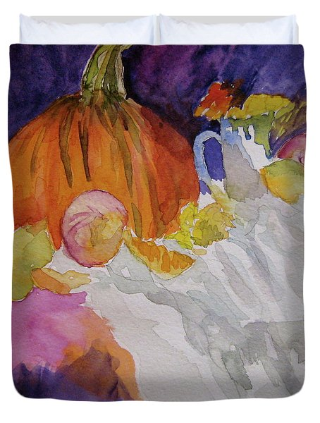 Duvet Cover featuring the painting Pumpkin Still Life by Beverley Harper Tinsley
