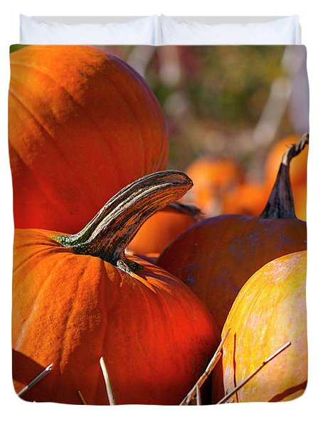 Duvet Cover featuring the photograph Pumpkins 2 by Sharon Talson