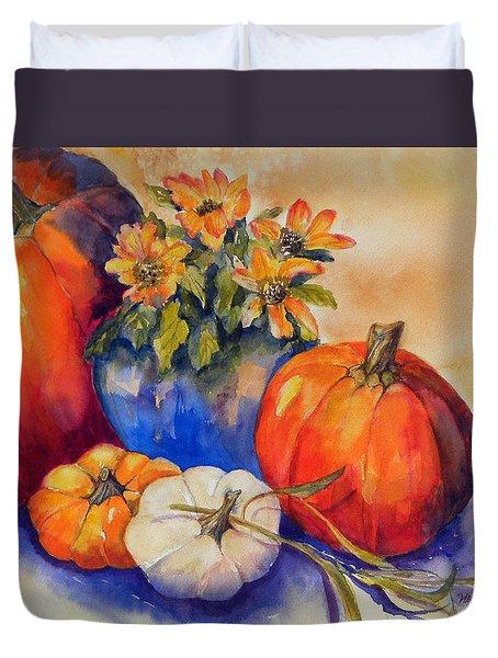 Pumpkins And Blue Vase Duvet Cover
