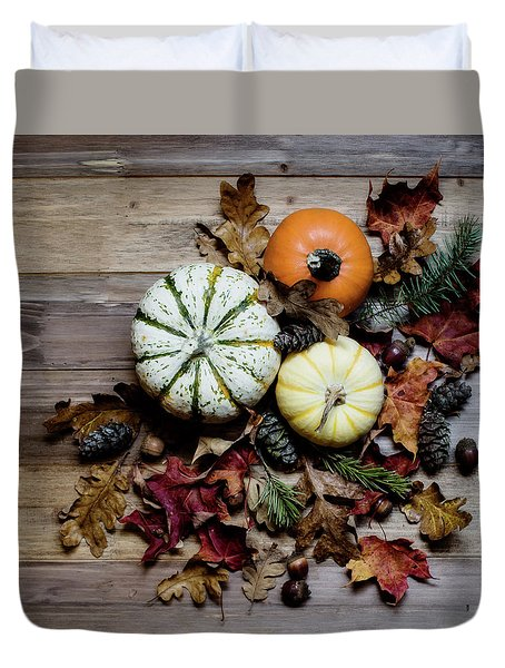Duvet Cover featuring the photograph Pumpkins And Leaves by Rebecca Cozart