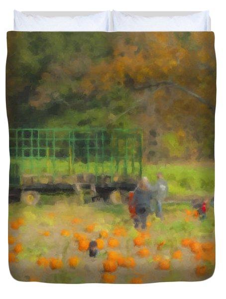 Pumpkins At Langwater Farm Duvet Cover