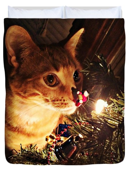 Pumpkin's First Christmas Tree Duvet Cover by Kathy M Krause