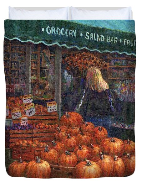 Pumpkins For Sale Duvet Cover by Susan Savad