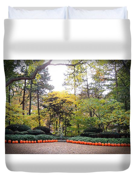 Pumpkins In A Row Duvet Cover by Teresa Schomig