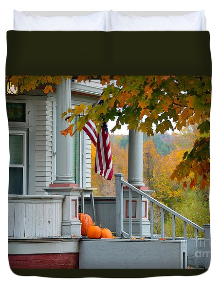 Pumpkins On A Vermont Porch Duvet Cover by Catherine Sherman