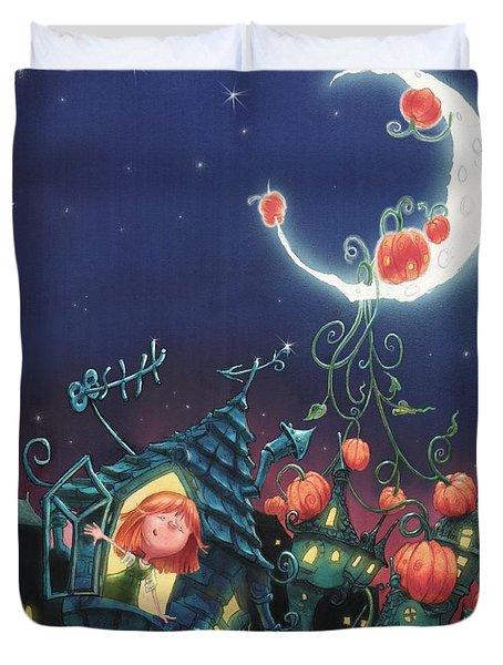 Pumpkins On The Moon Duvet Cover