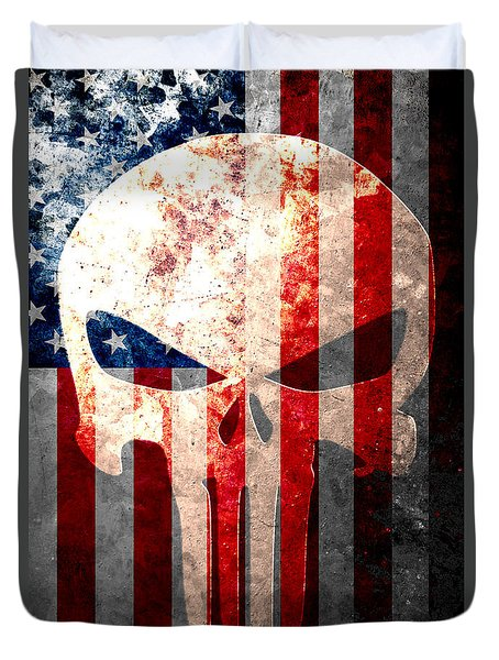 Punisher Skull And American Flag On Distressed Metal Sheet Duvet Cover