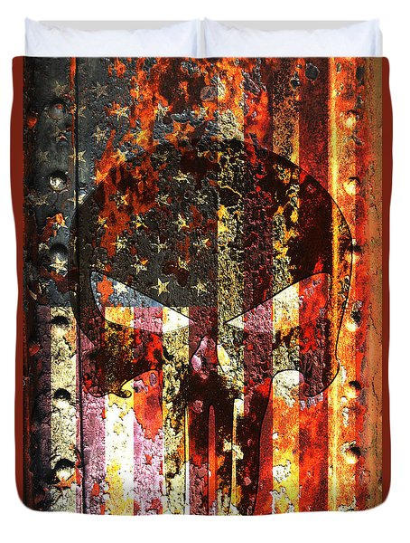 Punisher Skull On Rusted American Flag Duvet Cover