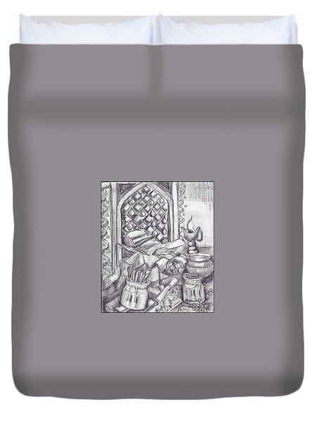 Punjabi Kitchen Pencil Sketch  Duvet Cover