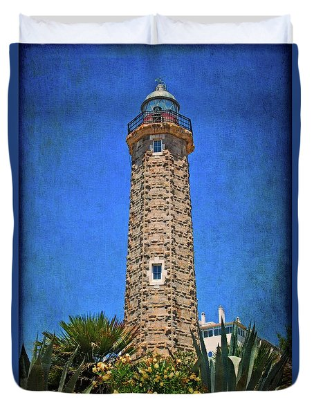Duvet Cover featuring the photograph Punto Doncela Lighthouse by Mary Machare