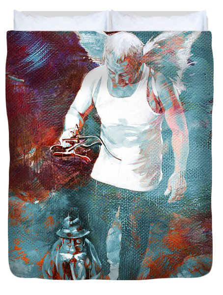 Duvet Cover featuring the painting Puppet Man 003 by Gull G
