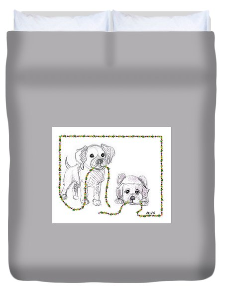 Puppies Greeting Card Duvet Cover