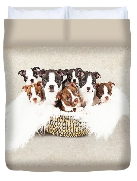 Puppies In A Basket With Textured Background  Duvet Cover