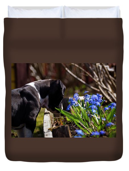 Puppy And Flowers Duvet Cover