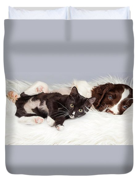 Puppy And Kitten Laying On Furry Blanket Duvet Cover
