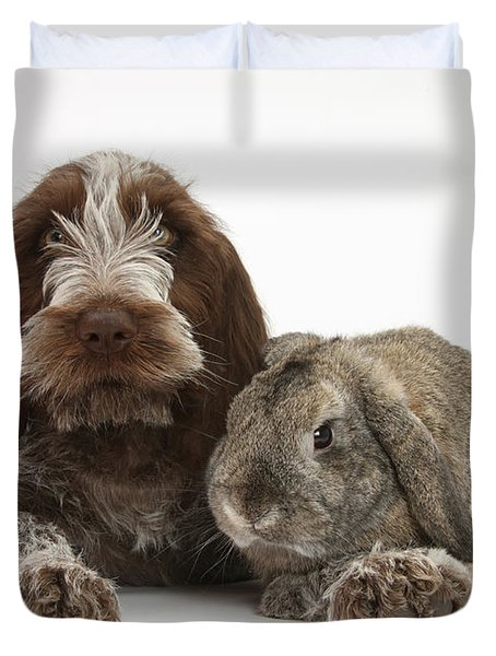 Puppy And Rabbt Duvet Cover by Mark Taylor