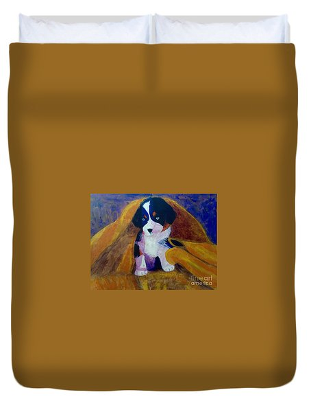Duvet Cover featuring the painting Puppy Bath by Donald J Ryker III