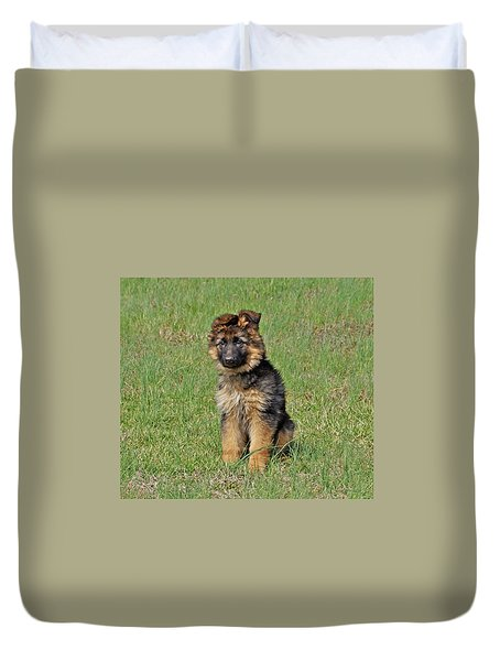 Duvet Cover featuring the photograph Puppy Halo by Sandy Keeton