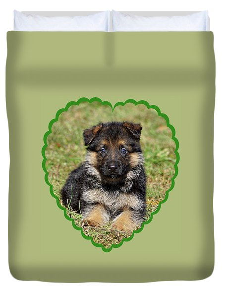 Duvet Cover featuring the photograph Puppy In Heart by Sandy Keeton
