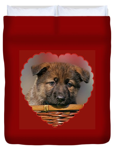 Duvet Cover featuring the photograph Puppy In Red Heart by Sandy Keeton