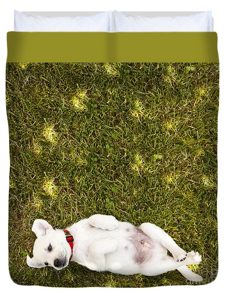 Puppy In The Grass Duvet Cover