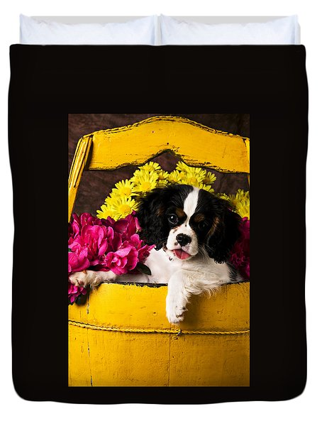 Puppy In Yellow Bucket  Duvet Cover by Garry Gay