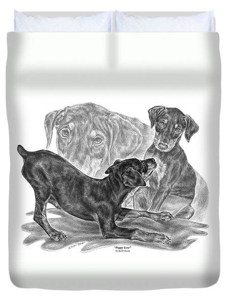 Puppy Love - Doberman Pinscher Pup Duvet Cover