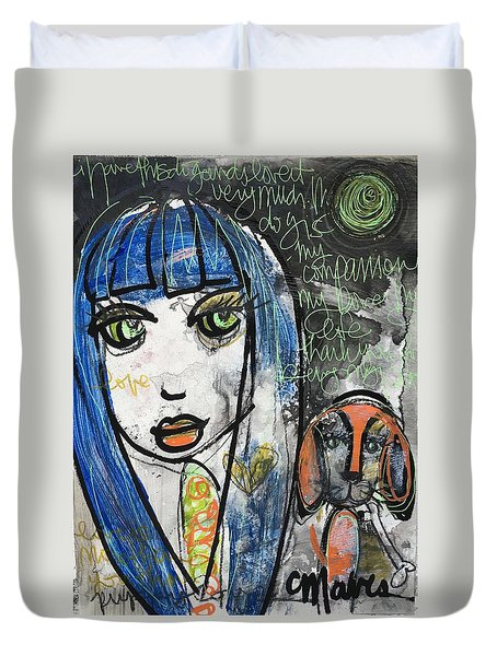Puppy Love I Am Your Person Duvet Cover by Laurie Maves ART