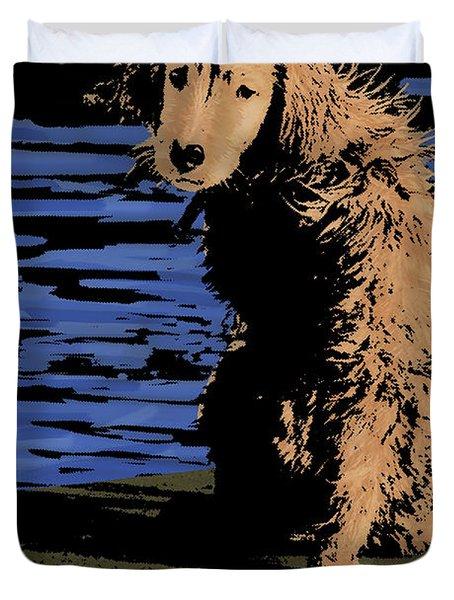 Puppy On Pier Pop Art Duvet Cover