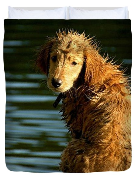 Puppy On The Pier Duvet Cover