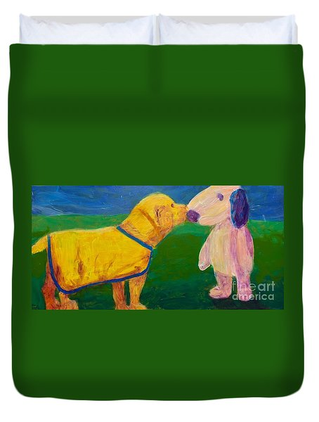 Duvet Cover featuring the painting Puppy Say Hi by Donald J Ryker III