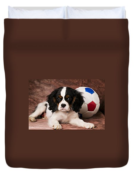 Puppy With Ball Duvet Cover by Garry Gay