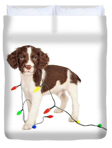Puppy Wrapped In Christmas Lights Duvet Cover