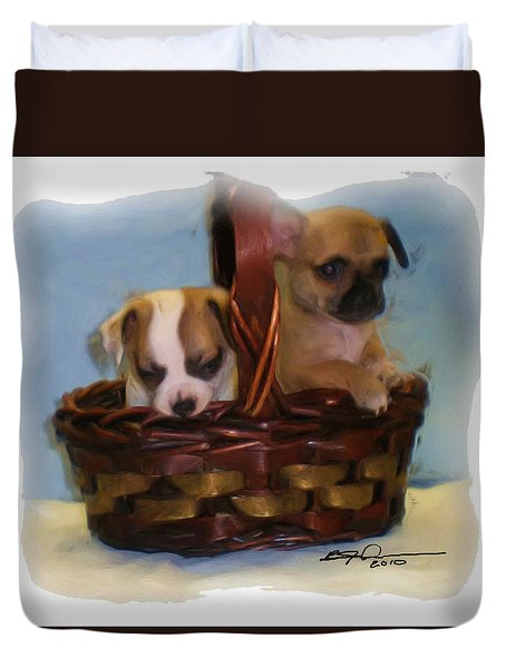 Pups In A Basket Duvet Cover by Beverly Johnson