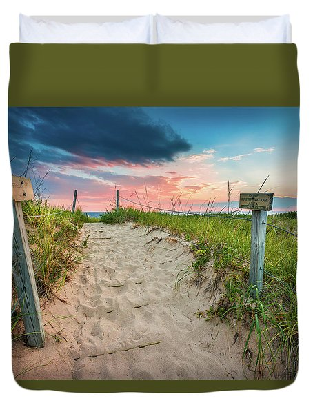 Duvet Cover featuring the photograph Pure Michigan Sunset by Sebastian Musial