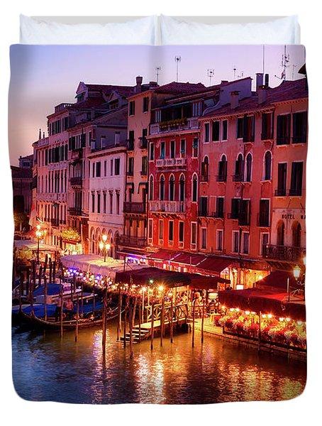 Cityscape From The Rialto In Venice, Italy Duvet Cover