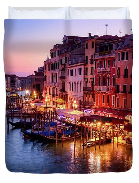 Cityscape From The Rialto In Venice, Italy Duvet Cover