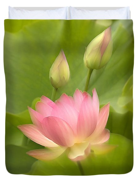 Duvet Cover featuring the photograph Purity Reborn by John Poon