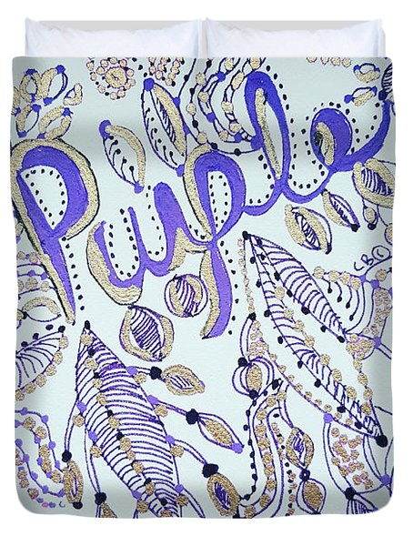 Duvet Cover featuring the drawing Purple 1 by Carole Brecht