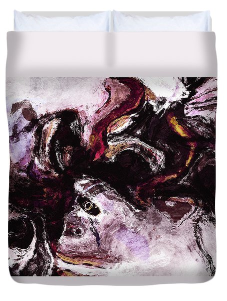 Duvet Cover featuring the painting Purple Abstract Painting / Surrealist Art by Ayse Deniz